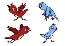 Illustrazione sveglia Assorted dell'uccello nel vettore Fotografie Stock