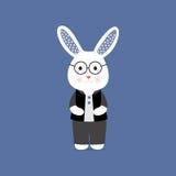 Illustrazione sveglia astuta di vetro del coniglietto Immagine Stock