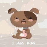 Illustrazione sveglia con il cucciolo Fondo con le nuvole Immagini Stock Libere da Diritti