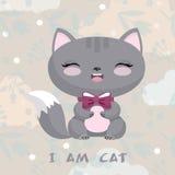 Illustrazione sveglia con il gattino Priorità bassa del fiore Fotografie Stock Libere da Diritti