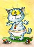 Illustrazione sveglia con il piccolo gatto Bambino Fotografia Stock