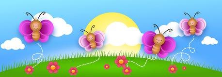 Illustrazione sveglia con la farfalla illustrazione vettoriale