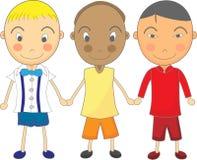 Illustrazione sveglia del bambino dei ragazzi Multiracial che tengono Han Immagine Stock Libera da Diritti