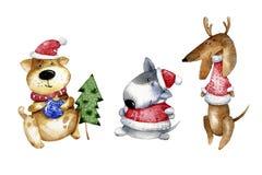 Illustrazione sveglia del cucciolo del fumetto Illustrazione dell'acquerello per il Natale Cartolina d'auguri di anno del cane Fotografie Stock Libere da Diritti