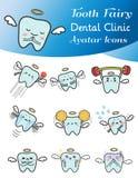 Illustrazione sveglia del fumetto dell'insieme dell'icona dell'avatar del fatato di dente Fotografia Stock