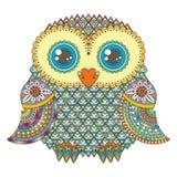 Illustrazione sveglia del gufo Uccello modellato decorato Immagine per colorare Simbol per stampare royalty illustrazione gratis