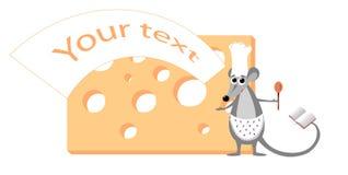 Illustrazione sveglia del mouse con formaggio Fotografia Stock
