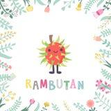 Illustrazione sveglia del rambutan del fumetto con i fiori & l'iscrizione Fotografie Stock Libere da Diritti