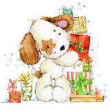 Illustrazione sveglia dell'acquerello del cucciolo del fumetto Cartolina d'auguri di anno del cane illustrazione vettoriale