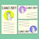 Illustrazione sveglia dell'alpaga o del lama Animale in modo divertente Immagine Stock