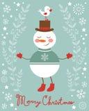Illustrazione sveglia dell'uccello e del pupazzo di neve Fotografia Stock