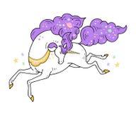 Illustrazione sveglia dell'unicorno magico - la carta e la camicia progettano Progettazione di vettore su fondo bianco Stampa per illustrazione vettoriale