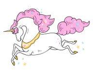 Illustrazione sveglia dell'unicorno magico - la carta e la camicia progettano Progettazione romantica del disegno della mano di v illustrazione di stock
