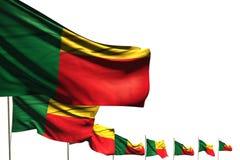 Illustrazione sveglia della bandiera 3d di Giorno dei Caduti - molte bandiere del Benin hanno disposto la diagonale isolata su bi illustrazione vettoriale