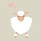 Illustrazione sveglia delle pecore con poco cuore rosa che ritiene adorabile Fotografie Stock Libere da Diritti