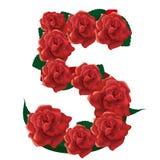 Illustrazione sveglia delle rose di numero 5 Immagini Stock Libere da Diritti