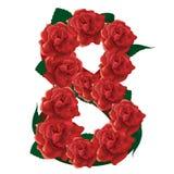 Illustrazione sveglia delle rose di numero 8 Immagini Stock