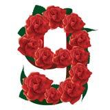 Illustrazione sveglia delle rose di numero 9 Fotografia Stock Libera da Diritti