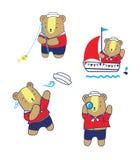 Illustrazione sveglia di Bear Cartoon Vector del marinaio Fotografia Stock Libera da Diritti