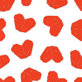 Illustrazione sveglia di giorno di biglietti di S Modello senza cuciture di nozze con i cuori di origami Immagini Stock Libere da Diritti