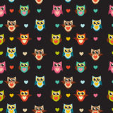 Illustrazione sveglia di Owl Seamless Pattern Background Vector Fotografie Stock Libere da Diritti
