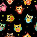 Illustrazione sveglia di Owl Seamless Pattern Background Vector Immagini Stock Libere da Diritti