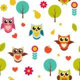 Illustrazione sveglia di Owl Seamless Pattern Background Vector Fotografie Stock Libere da Diritti