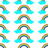 Illustrazione sveglia di vettore con l'arcobaleno e le nuvole blu Progettazione senza cuciture del modello per i bambini illustrazione di stock