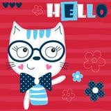 Illustrazione sveglia di vettore dei fiori e del gatto Fotografia Stock