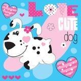Illustrazione sveglia di vettore del cuore del cane Fotografie Stock