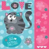 Illustrazione sveglia di vettore del gatto di amore Immagini Stock