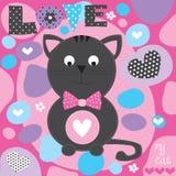 Illustrazione sveglia di vettore del gatto di amore Fotografia Stock
