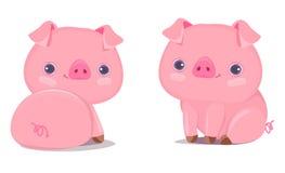 Illustrazione sveglia di vettore del maiale Personaggio dei cartoni animati Saluti cinesi di nuovo anno immagine stock