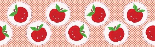 Illustrazione sveglia di vettore del pois della mela Modello di ripetizione senza cuciture del confine royalty illustrazione gratis