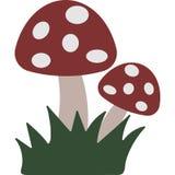 Illustrazione sveglia di vettore del terreno boscoso dei funghi illustrazione di stock
