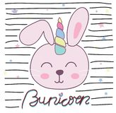 Illustrazione sveglia di vettore dell'unicorno del coniglietto per progettazione dei bambini royalty illustrazione gratis
