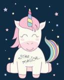 Illustrazione sveglia di vettore dell'unicorno per progettazione dei bambini illustrazione vettoriale