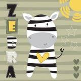 Illustrazione sveglia di vettore della zebra Fotografie Stock