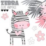 Illustrazione sveglia di vettore della zebra Immagine Stock