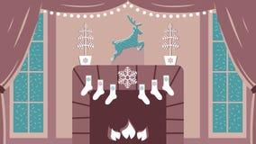 Illustrazione sveglia di vettore di stanza interna accogliente con il camino e le grandi finestre nel Natale elegante e nelle tra Immagine Stock