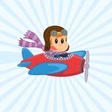 Illustrazione sveglia di vettore di un aereo d'annata con un piccolo pilota divertente Volo allegro del ragazzo in aeroplano illustrazione di stock