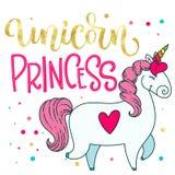 Illustrazione sveglia isolata disegnata a mano dell'unicorno del fumetto di scarabocchio di oro di Unicorn Princess della stagnol illustrazione vettoriale