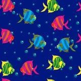 Illustrazione sveglia senza cuciture del segno dello zodiaco di pesci Immagini Stock
