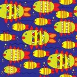 Illustrazione sveglia senza cuciture del segno dello zodiaco di pesci Fotografie Stock
