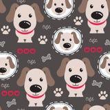 Illustrazione sveglia senza cuciture di vettore del modello del cane Immagine Stock Libera da Diritti