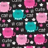 Illustrazione sveglia senza cuciture di vettore del modello del gatto Immagini Stock Libere da Diritti