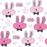 Illustrazione sveglia senza cuciture di vettore del modello di amore del coniglietto Immagini Stock