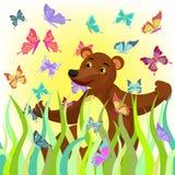 Illustrazione sveglia sorridente di seduta di vettore dell'orso del fumetto royalty illustrazione gratis