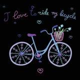 Illustrazione sveglia variopinta blu di vettore della bicicletta di scarabocchio Fotografia Stock