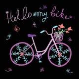 Illustrazione sveglia variopinta di vettore della bicicletta di scarabocchio Fotografie Stock